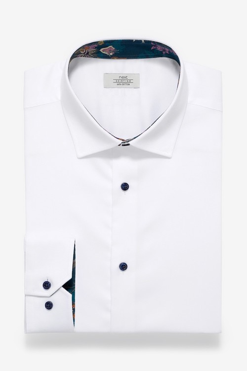 Next Contrast Trim Shirt- Regular Fit Single Cuff