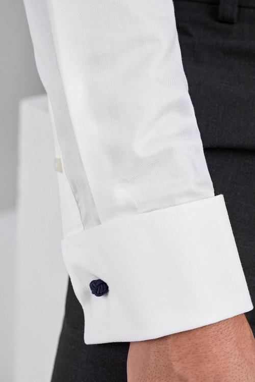 Next Signature Textured Shirt-Slim Fit Double Cuff