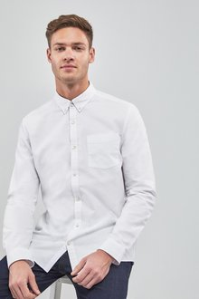 Next Long Sleeve Oxford Shirt- Slim Fit