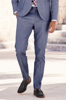 Next Cotton Suit: Trousers- Skinny Fit