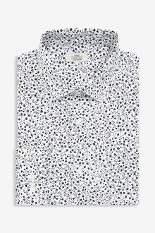 Next Floral Print Regular Fit Single Cuff Cotton Stretch Shirt