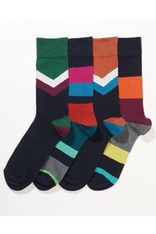 Next Chevron And Stripe Socks Four Pack