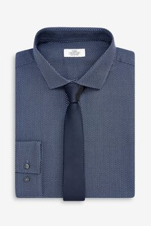 Next Cotton Regular Fit Single Cuff Textured Shirt And Tie Set
