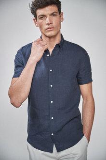 Next Short Sleeve Linen Shirt - 240248