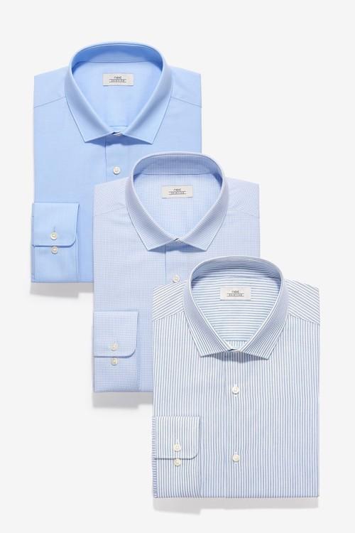 Next Stripe And Textured Shirts Three Pack- Slim Fit Single Cuff