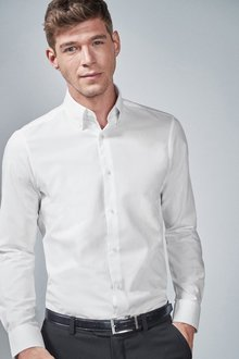 Next Slim Fit Easy Care Oxford Shirts Two Pack