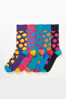 Next Bright Large Spot Socks Five Pack
