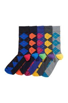 Next Bright Argyle Pattern Socks Five Pack