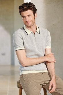 Next Short Sleeve Knitted Zip Neck Polo