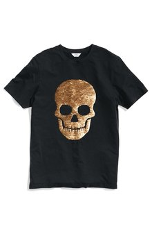 Next Reversible Sequin Skull T-Shirt