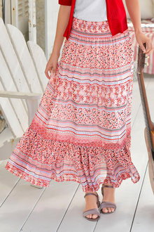 Euro Edit Printed Maxi Skirt