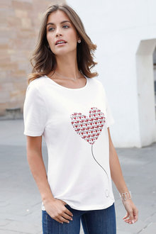 Euro Edit Heart Print T-Shirt