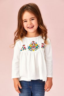 Next Embroidered Long Sleeve Blouse (3mths-7yrs)