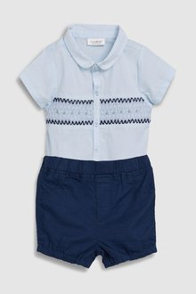 Next Smock Shirtbody And Navy Shorts Two Piece Set (0mths-2yrs)