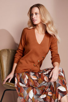 European Collection Button Detail Sweater - 240539