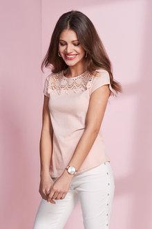 European Collection Lace Yoke Shirt