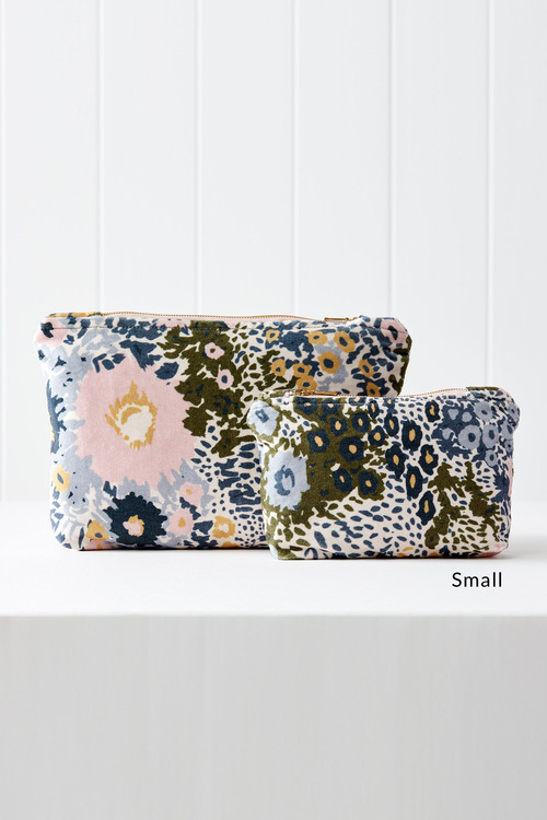 Cornflower Printed Velvet Pouch