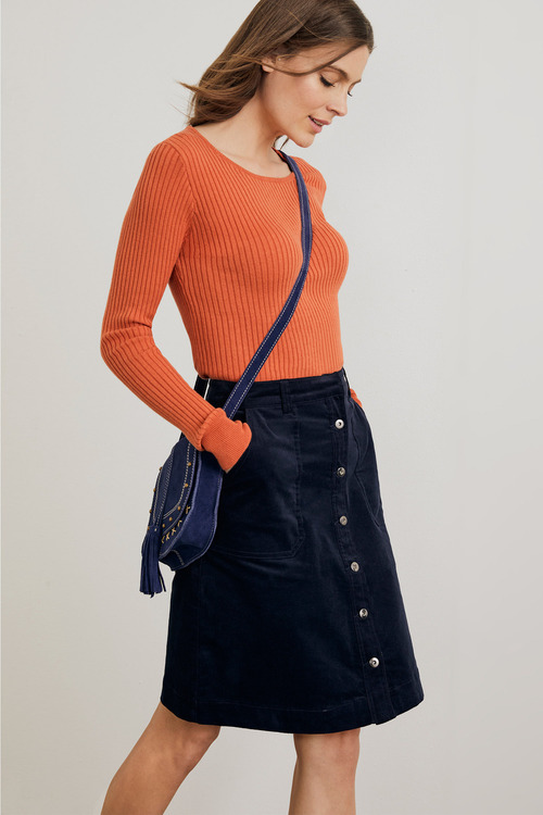 Capture Cord Button Front Skirt