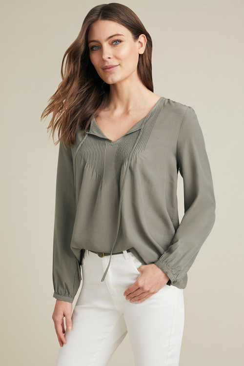 Capture Pintuck Tie Neck Top