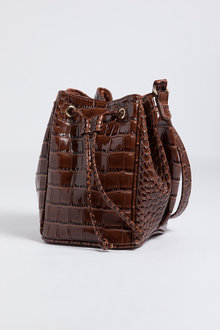 Camille Croc Embossed Bucket Bag