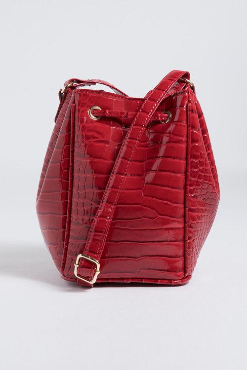 Camille Croc Embossed Bucket Bag