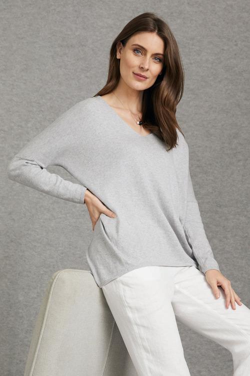 Grace Hill Cashmere Blend Drop Shoulder Sweater