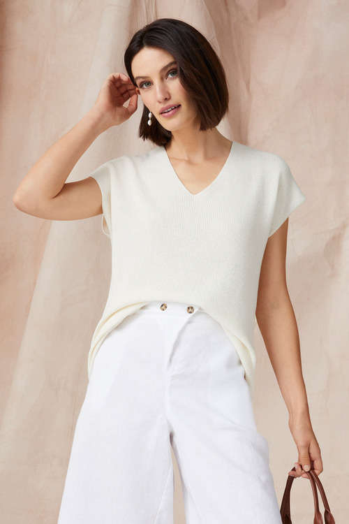 Grace Hill Cashmere Blend V Neck Top