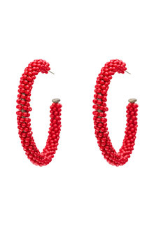 Amber Rose Red Bead Earring