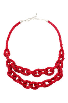 Amber Rose Red Bead Necklace - 240751