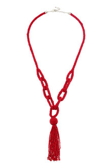 Amber Rose Red Long Necklace - 240752