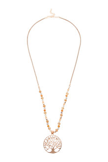 Amber Rose Tree Gold Necklace - 240757