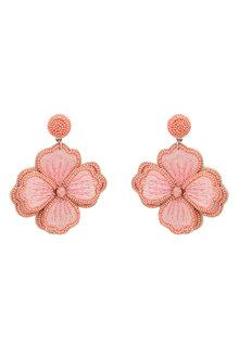 Amber Rose Embroidered Flower Earrings