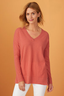Capture Lambswool Pointelle V Sweater - 240883