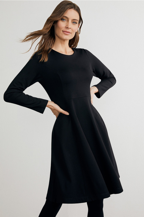 Capture Ponte Flare Long Sleeve Dress