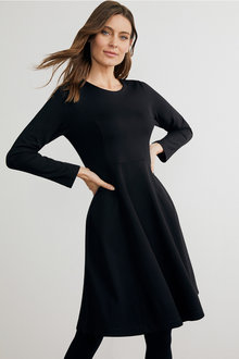 Capture Ponte Flare Long Sleeve Dress