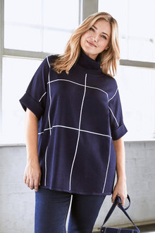 Plus Size - Sara Merino Block Pattern Poncho - 240941