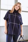 Plus Size - Sara Merino Block Pattern Poncho