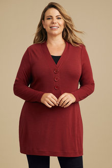 Plus Size - Sara Merino Button Sweater - 240944