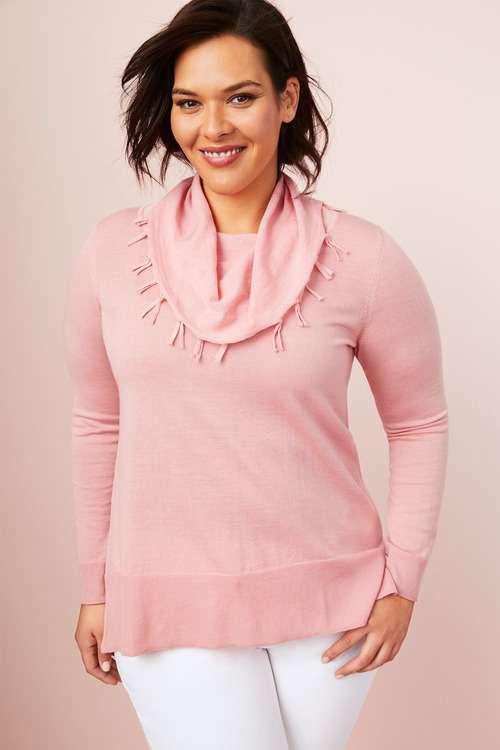 Plus Size - Sara Merino Fringe Cowl Sweater