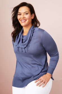 Plus Size - Sara Merino Fringe Cowl Sweater - 240951