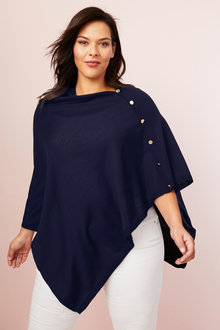 Plus Size - Sara Merino Button Poncho