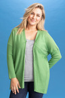 Plus Size - Sara Merino Textured Drape Cardi