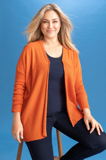 Plus Size - Sara Merino Textured Drape Cardi - 240955