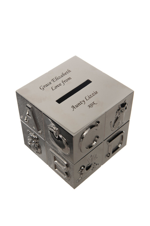 Personalised ABC Cube Money Box