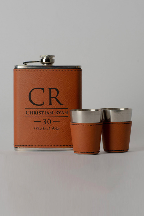Personalised Hip Flask and Shot Glass Set