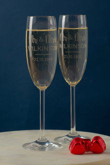 Personalised Mr & Mrs Champagne Flutes Set of Six - 240972
