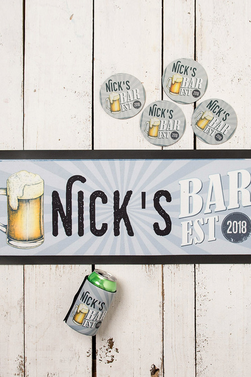 Personalised Mancave Coasters Set of Four