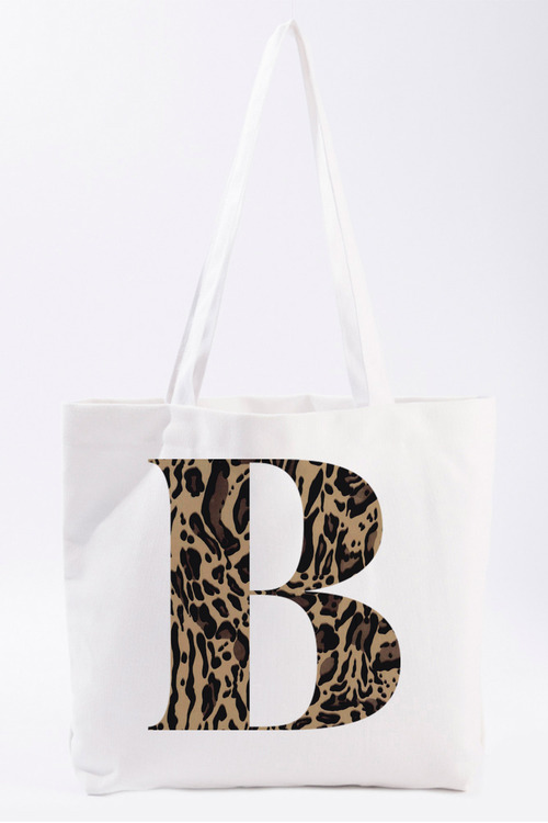 Personalised Natural Canvas Initial Tote