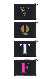 Personalised Initial Black Pouch
