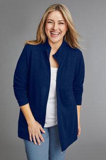 Plus Size - Sara Lambswool Stripe Zip Through